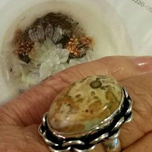 Jewelry - Leopardskin Jasper ring 925 sterling silver 9
